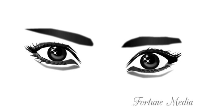 目に近い眉毛