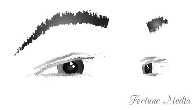 目から離れている眉毛