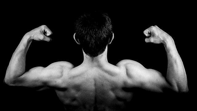 力こぶを作る男性 筋肉 体力 背中