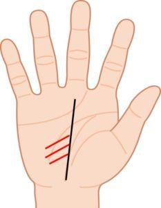寵愛線が3本ある右手