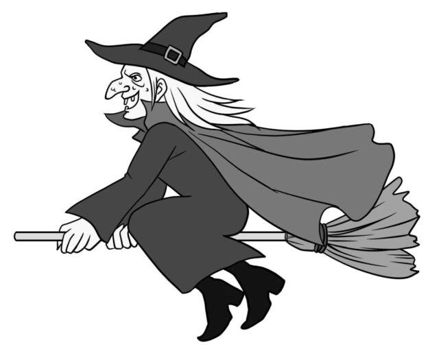 鷲鼻 ほうきに乗った魔女